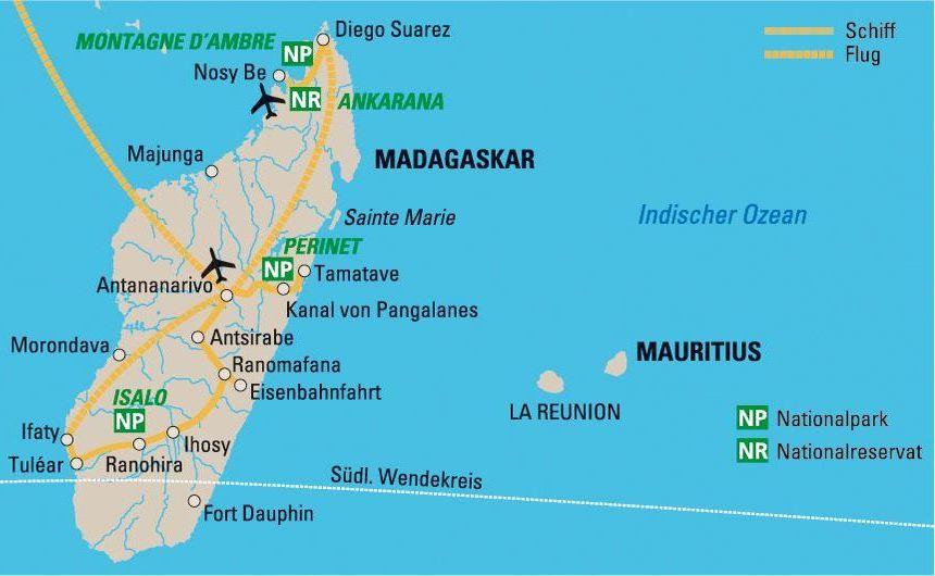 Reiseroute Naturparadies Madagaskar